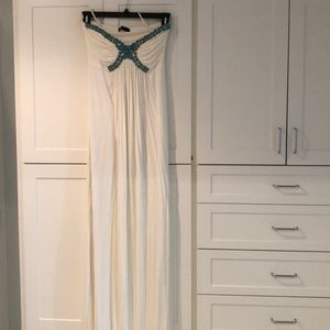Sky Long white dress with blue beading
